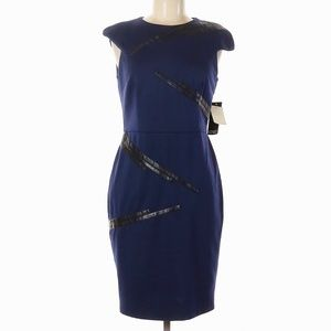 ADRIANNA PAPELL Faux Leather Detail Sheath Dress